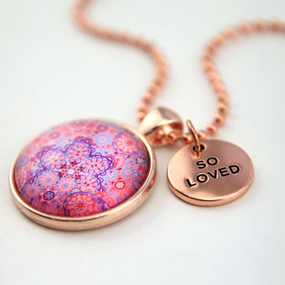 PINK COLLECTION - Rose Gold 'SO LOVED' Necklace - Pink Ice (10531)