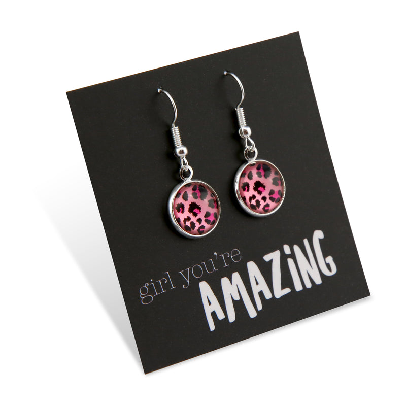 Pink Collection - Girl You're Amazing - Stainless Steel Bright Silver Dangle Earrings - Pink Leopard  (9516)