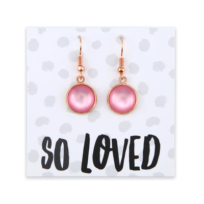 Pink Collection - So Loved - Stainless Steel Rose Gold Dangle Earrings - Pink Pearl Resin (2208)