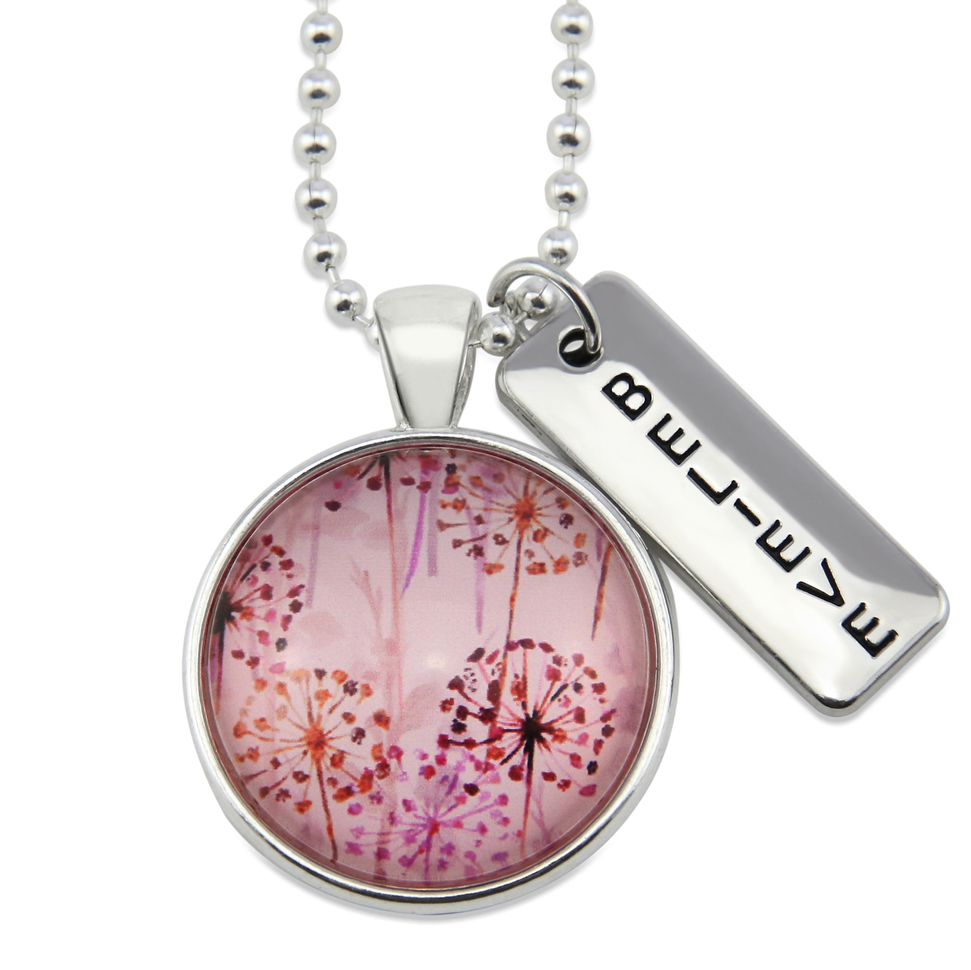 PINK COLLECTION - Bright Silver 'BELIEVE' Necklace - Pink Wish (10335)