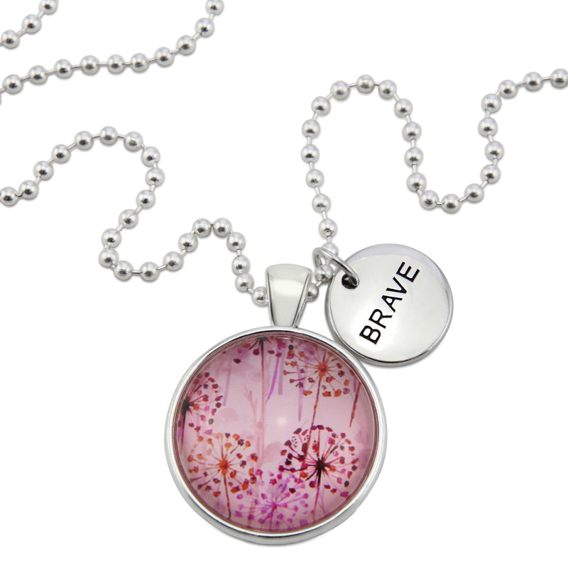 PINK COLLECTION - Bright Silver 'BRAVE' Necklace - Pink Wish (10613)