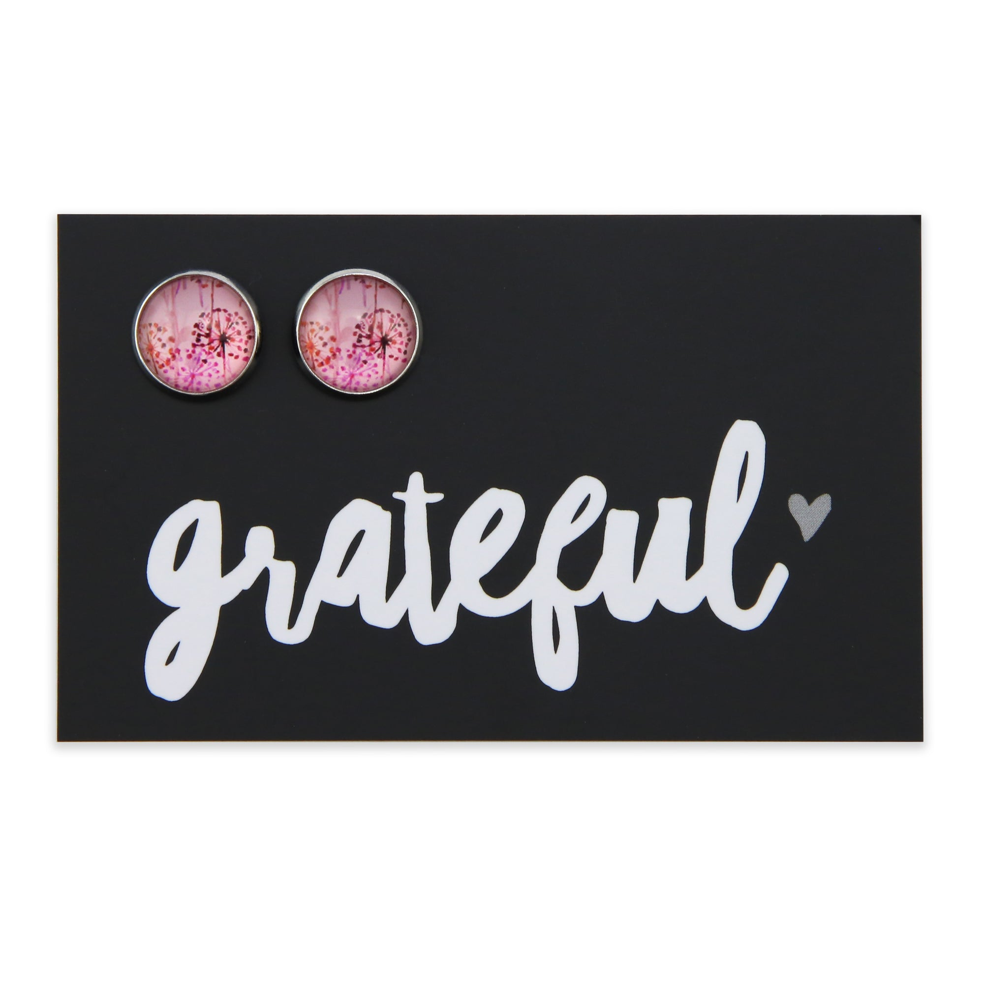 PINK COLLECTION - Grateful - Vintage Silver surround Circle Studs - Pink Wish (2216)
