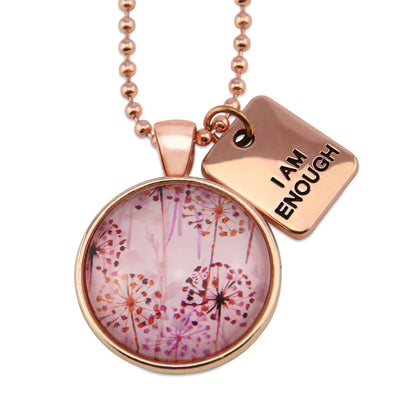 PINK COLLECTION - Rose Gold 'I AM ENOUGH' Necklace - Pink Wish (11221)