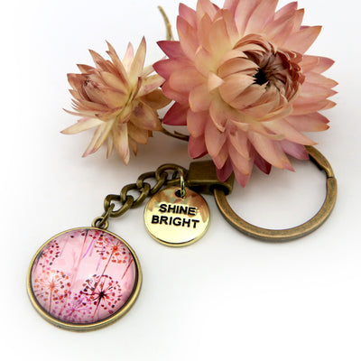 PINK COLLECTION - Vintage Gold 'SHINE BRIGHT'  Keyring -  Pink Wish (12232)
