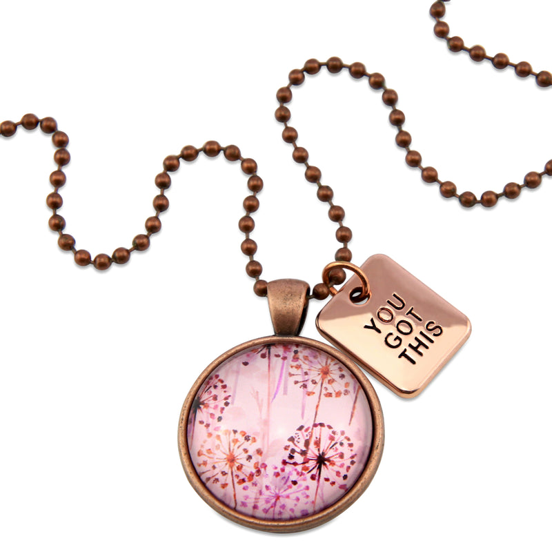 PINK COLLECTION - Vintage Copper 'YOU GOT THIS' Necklace - Pink Wish (11333)