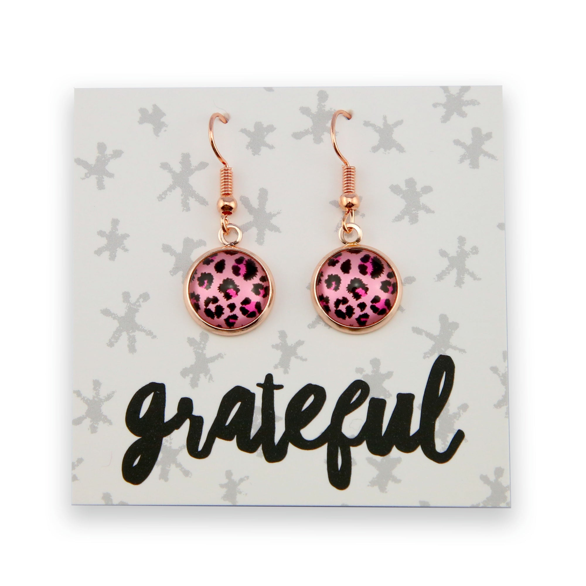 Pink Collection - Grateful- Stainless Steel Rose Gold Dangle Earrings - Pink Leopard (9909)