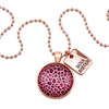 PINK COLLECTION - Rose Gold ' SOUL SISTER ' Circle Necklace - Pink Leopard (10354)