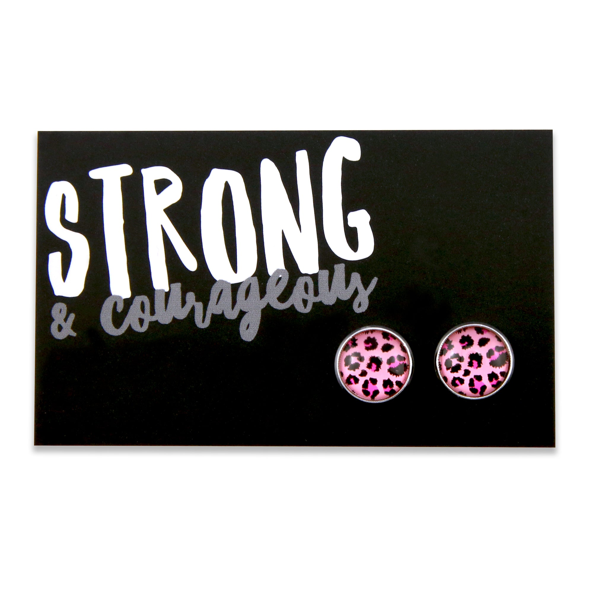 PINK COLLECTION - Strong & Courageous silver surround circle studs - Pink Leopard (8513)