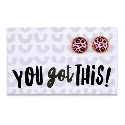 PINK COLLECTION - You Got This- Rose Gold surround circle studs - Pink Leopard (8809)