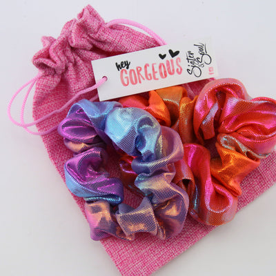Pink SPARKLE Scrunchie Bundle Gift Pack (S05)