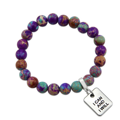Precious Stone Bracelet Imperial Jasper Purple & Aqua Divine 8MM BEADS - With Silver Word Charms