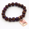 Stone Bracelet -  Purple Lux Nepal Stone 10mm Beads - with Rose Gold Word Charm (4009)