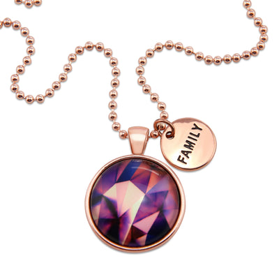 The STRONG WOMEN Collection - Rose Gold ' FAMILY ' Necklace - Purple Powerhouse (10321)