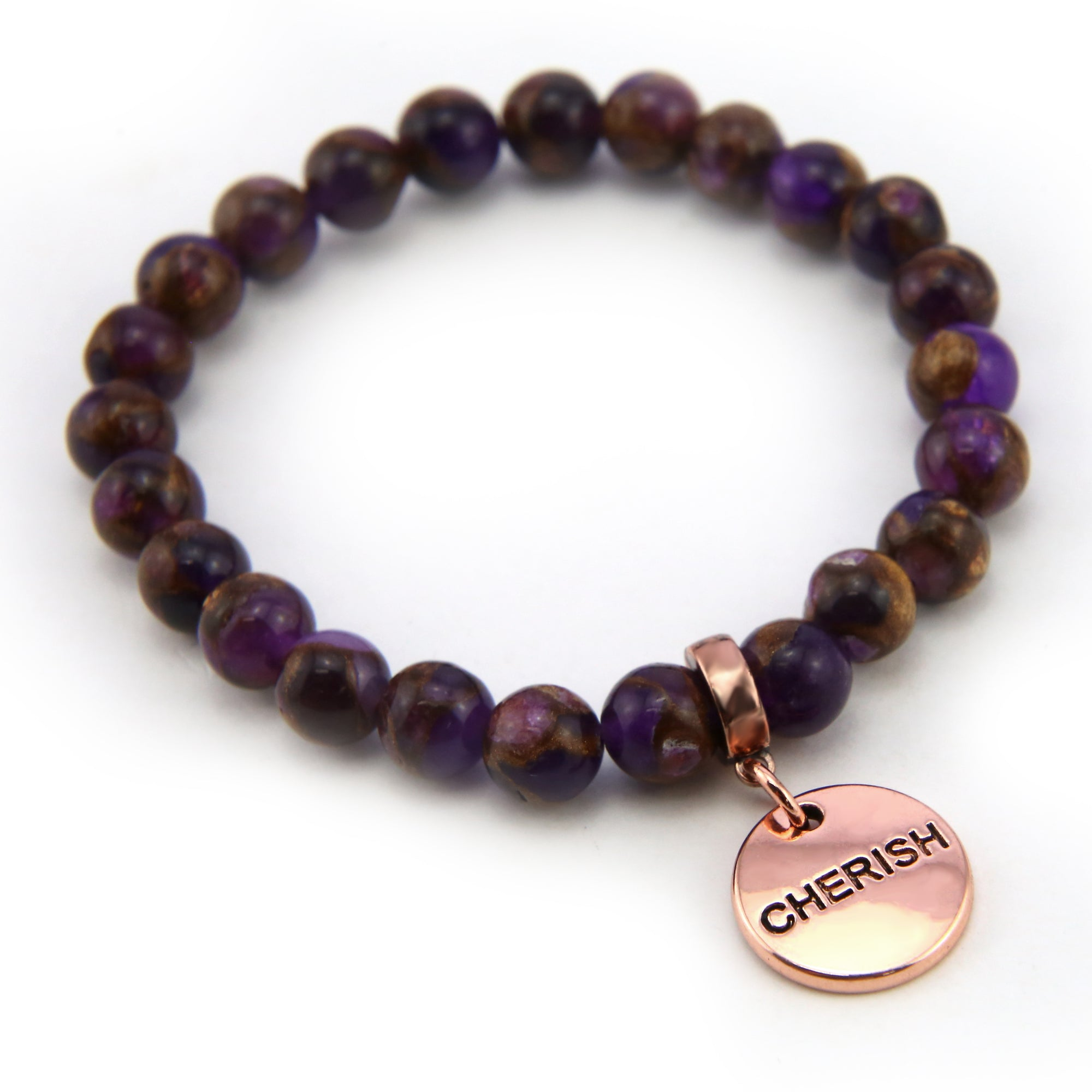 Stone Bracelet -  Purple Lux Nepal Stone 8mm Beads - with Rose Gold Word Charm (4008)