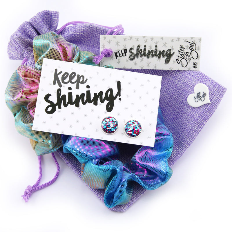 Purple KEEP SHINING Scrunchie Bundle Gift Pack (L09)