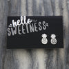 HELLO SWEETNESS Pineapple - Silver Plated Stud Earrings (9805)