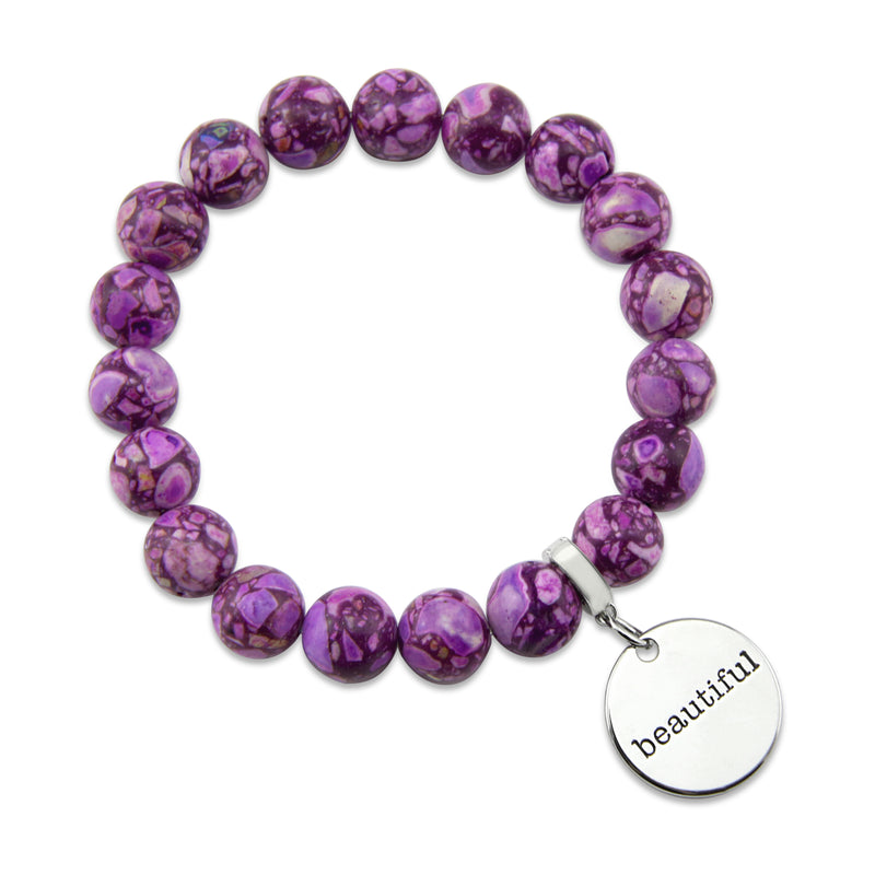 Precious Stone Bracelet ' BEAUTIFUL ' Purple Terrazzo 10MM BEADS - (1-2422)