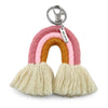 Handwoven Rainbow Keyring / Bag Accessory 'BELIEVE' in Silver - KIKKI (7006-1)