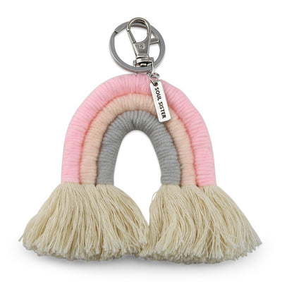 Handwoven Rainbow Keyring / Bag Accessory 'SOUL SISTER' in Silver - Pink/Peach/Grey (7015)