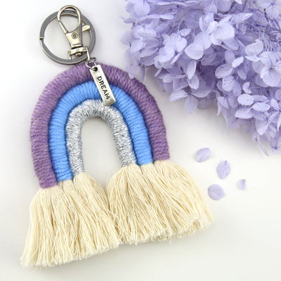 Handwoven Rainbow Keyring / Bag Accessory 'DREAM' in Silver - LUKA (7006-2)
