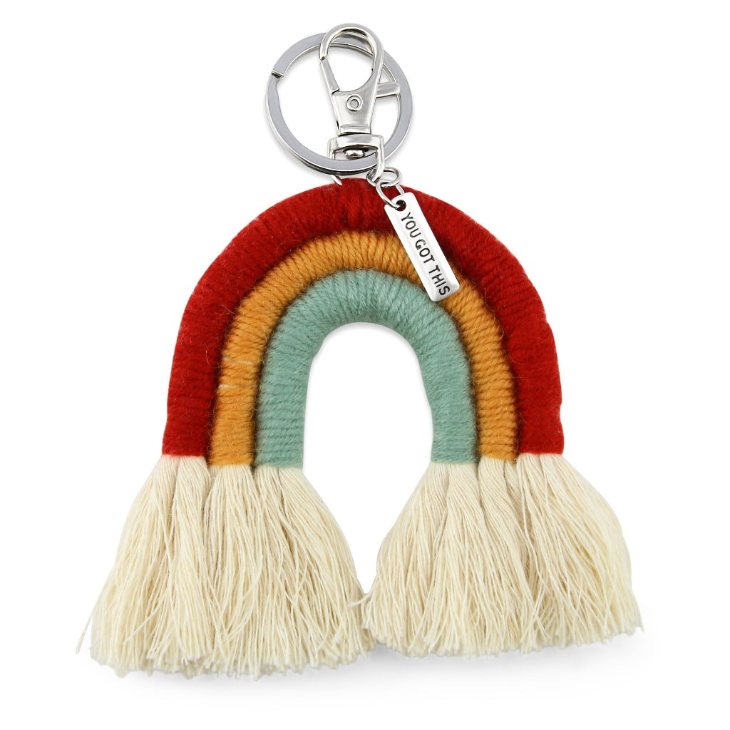 Handwoven Rainbow Keyring / Bag Accessory 'YOU GOT THIS' in Silver - Red/Ochre/Green (7008)