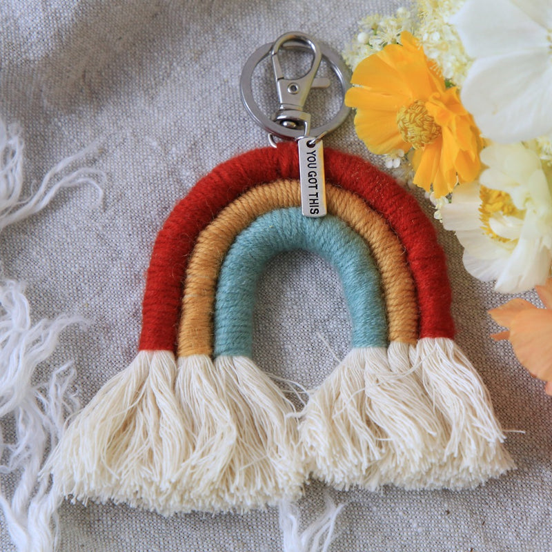 Handwoven Rainbow Keyring / Bag Accessory 'YOU GOT THIS' in Silver - ESTHER (7008)