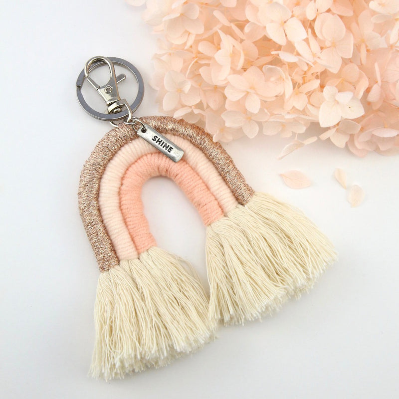 Handwoven Rainbow Keyring / Bag Accessory 'SHINE  ' in Silver - RoseGold/Peach (7013)