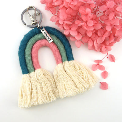 Handwoven Rainbow Keyring / Bag Accessory 'INSPIRE' in Silver - Green/Pink  (7014-1)