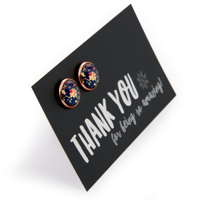 Forever Spring - Thank You for Being So Amazing - Rose Gold surround Circle Studs - Rambling Rose (9312)