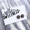 Forever Spring - Hello, Sweetness - Vintage Copper surround Circle Studs - Rambling Rose (8081)