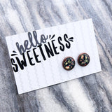 Spring Florals Collection - Hello, Sweetness - Vintage Copper surround Circle Studs - Rambling Rose (8081)