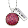 BOHO Collection - Vintage Silver 'FRIENDSHIP' Necklace - Raspberry Ice (11463)
