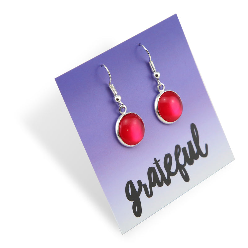 Stainless Steel Bright Silver Dangle Earrings - Grateful - Raspberry Pearl (8501-R)