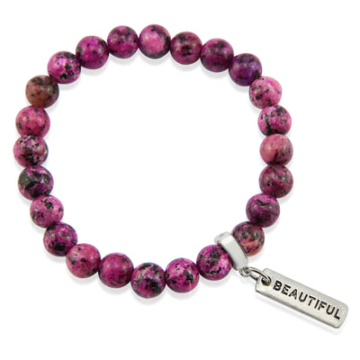 Stone Bracelet - Pink Raspberry Speckle 8mm beads - with Word Charm (5023)
