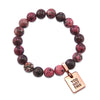 Stone Bracelet - Raspberry Speckle 10mm beads - with Rose Gold Word Charm