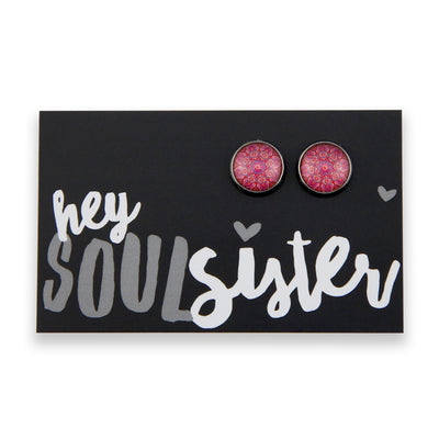 BOHO Collection - Hey Soul Sister - Vintage Silver surround Circle Studs - Raspberry Ice (8412-F)