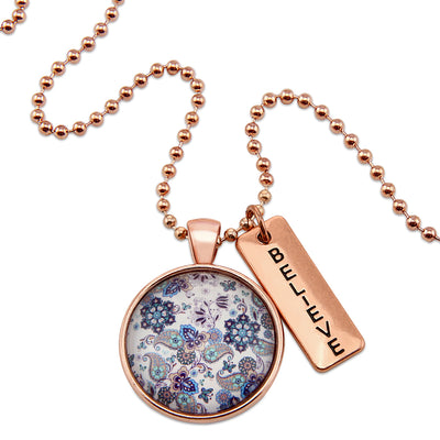 BOHO Collection - Rose Gold 'BELIEVE' Necklace - Rhapsody (11261-A)