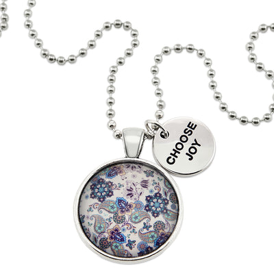 BOHO Collection - Vintage Silver 'CHOOSE JOY' Necklace - Rhapsody (11421-A)