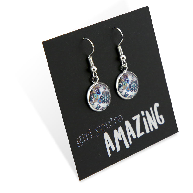 BOHO Collection - Girl You're Amazing - Stainless Steel Bright Silver Dangle Earrings - Rhapsody (9215)