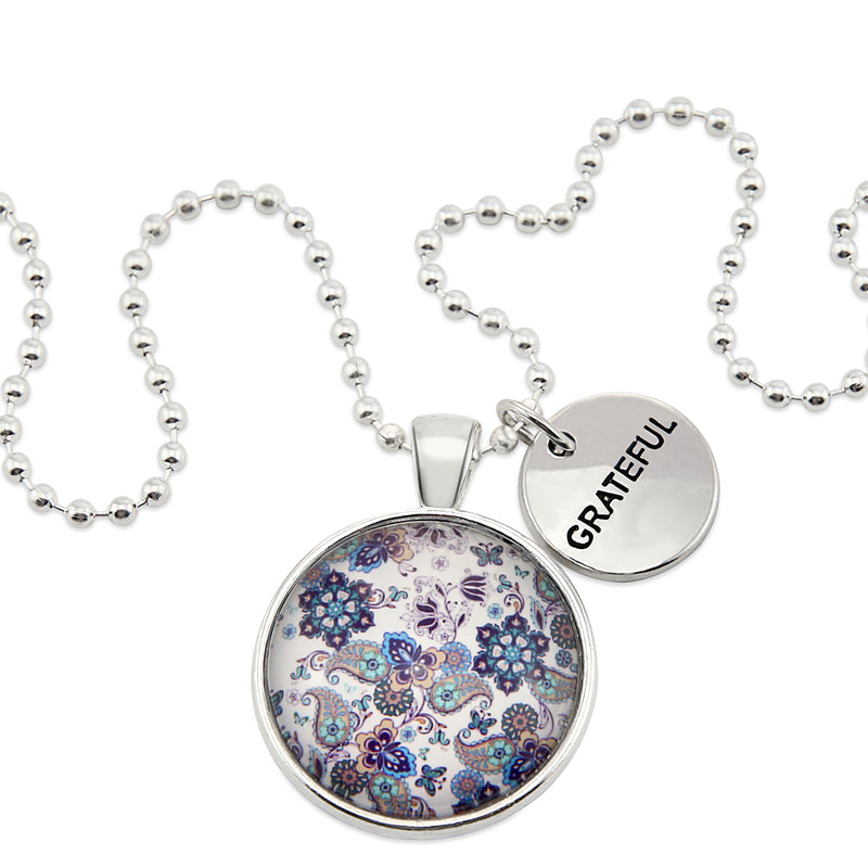 BOHO Collection - Bright Silver 'GRATEFUL' Necklace - Rhapsody (11242)