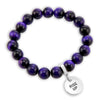 Precious Stones - Deep Purple Tigers Eye 10mm bead bracelet - with Word Charms (5008)