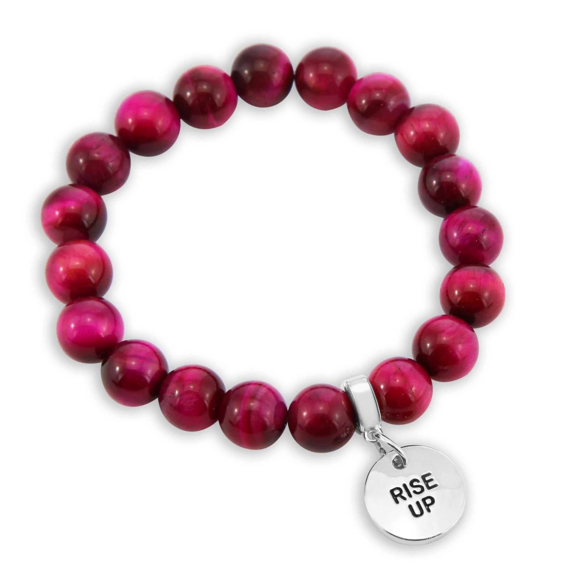 LIMITED EDITION Precious Stones - Bright Fuchsia Tigers Eye 10mm bead bracelet - with Word Charms (5017)