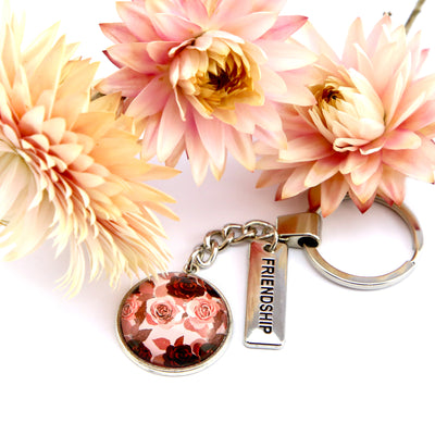 PINK COLLECTION - Vintage Silver 'FRIENDSHIP' Keyring - Rosie (10565)