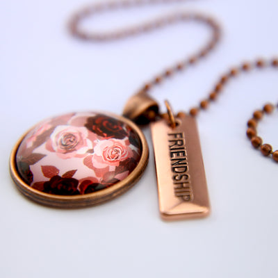 PINK COLLECTION - Vintage Copper 'FRIENDSHIP' Circle Necklace - Rosie (10645)