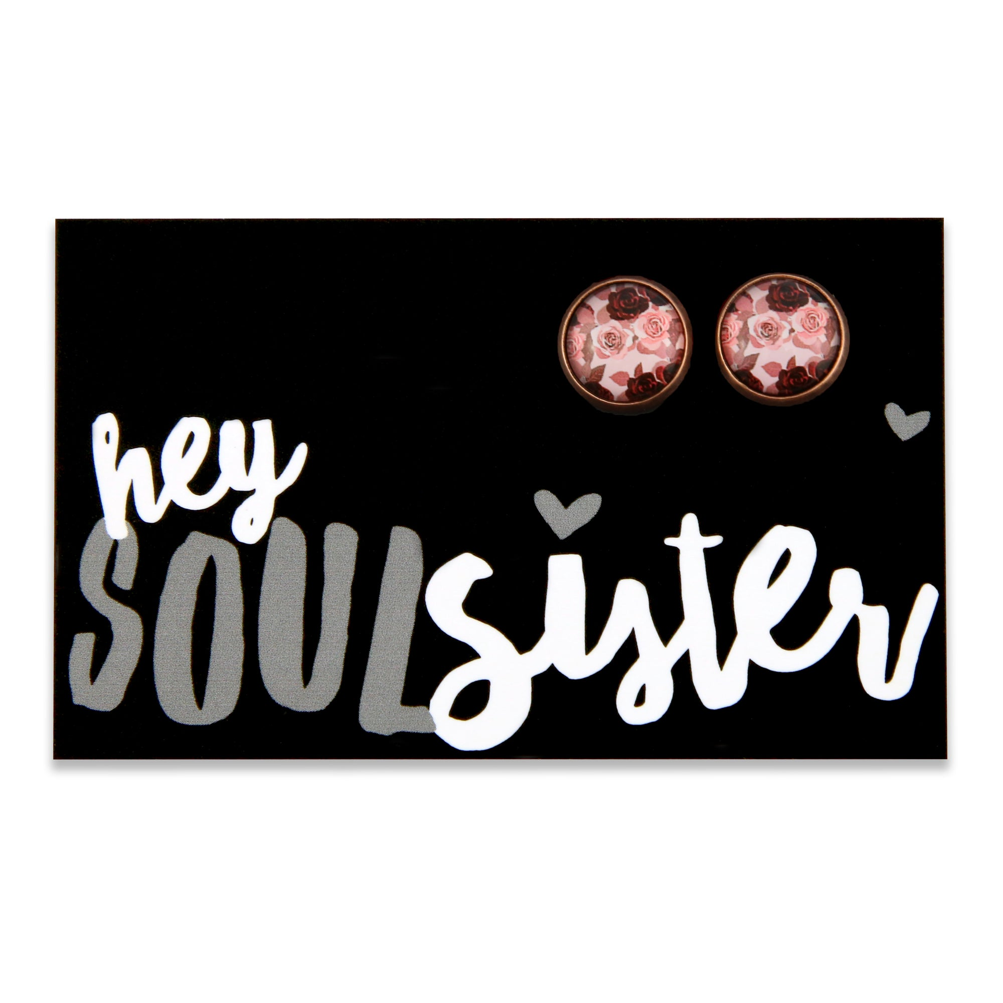 PINK COLLECTION - Hey Soul Sister -Vintage Copper surround circle studs - Rosie (8313-R)