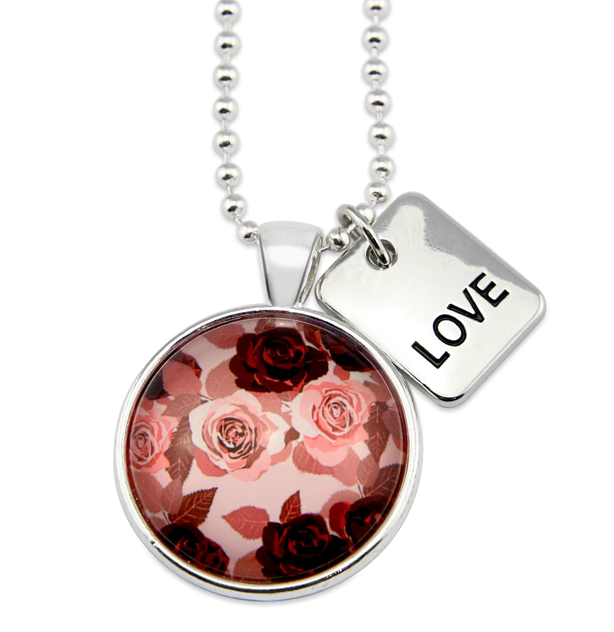 PINK COLLECTION - Bright Silver 'LOVE' Circle Necklace - Rosie (10323)