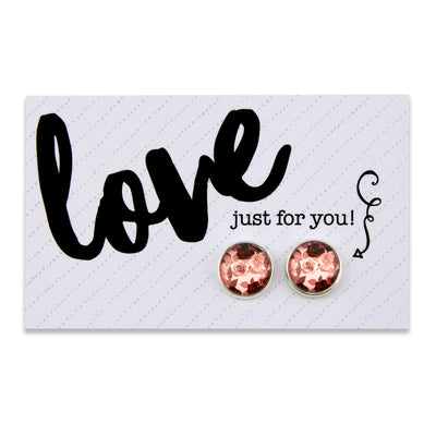 PINK COLLECTION - Love Just For You - Silver surround circle studs - Rosie (8510)