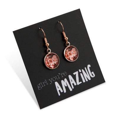 Pink Collection - Girl You're Amazing - Stainless Steel Rose Gold Dangle Earrings - Rosie (9912)