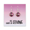 Pink Collection - All Kinds Of Strong - Stainless Steel Bright Silver Dangle Earrings - Rosie Posy (2211)