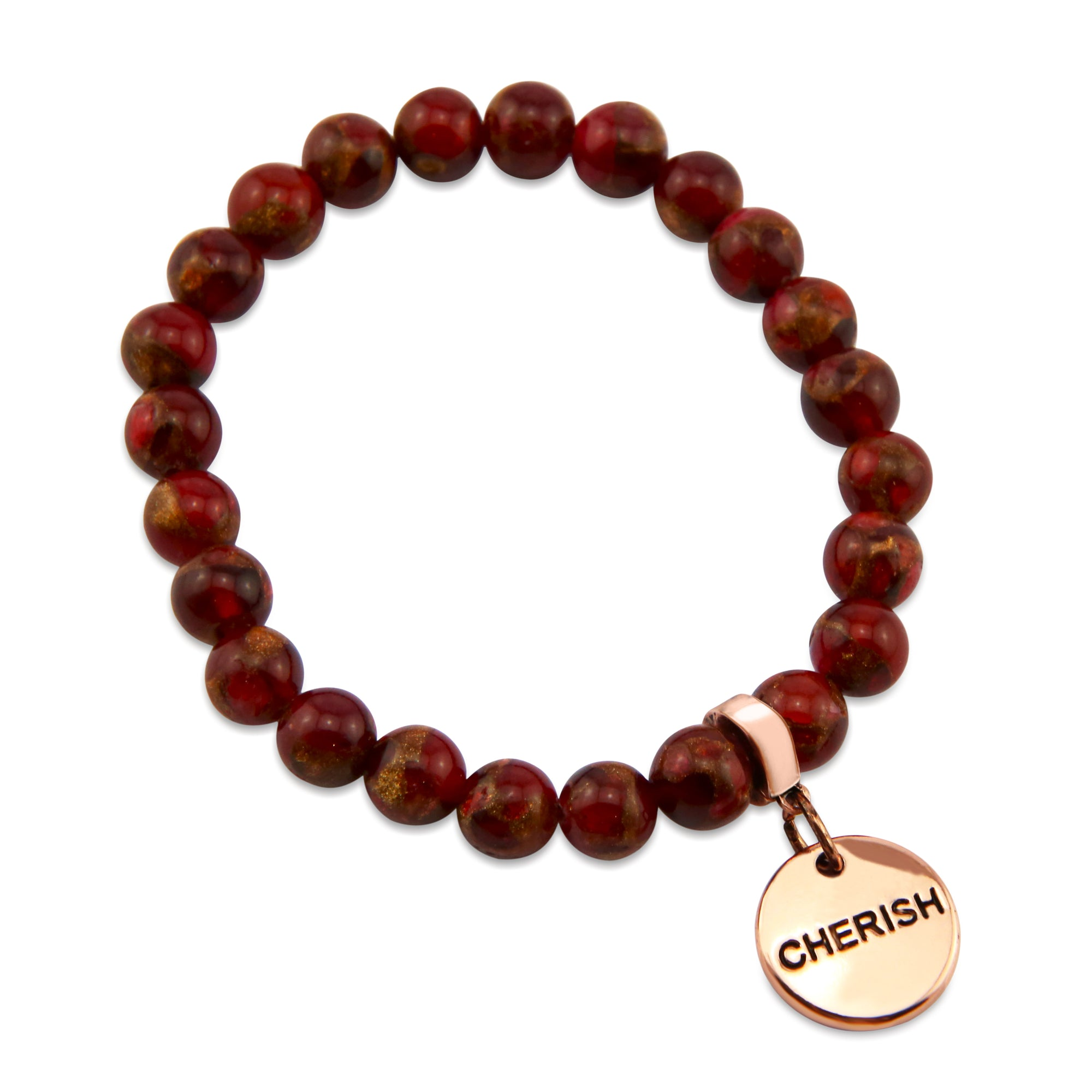 Stone Bracelet -  Ruby Lux Nepal Stone 8mm Beads - with Rose Gold Word Charm